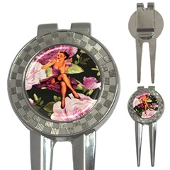 Cute Gil Elvgren Purple Dress Pin Up Girl Pink Rose Floral Art Golf Pitchfork & Ball Marker