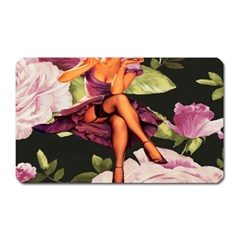 Cute Gil Elvgren Purple Dress Pin Up Girl Pink Rose Floral Art Magnet (Rectangular)