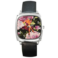 Cute Gil Elvgren Purple Dress Pin Up Girl Pink Rose Floral Art Square Leather Watch