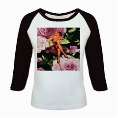 Cute Gil Elvgren Purple Dress Pin Up Girl Pink Rose Floral Art Women s Long Cap Sleeve T-Shirt