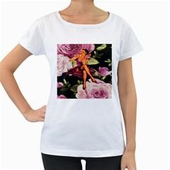 Cute Gil Elvgren Purple Dress Pin Up Girl Pink Rose Floral Art Womens' Maternity T-shirt (White)