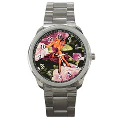 Cute Gil Elvgren Purple Dress Pin Up Girl Pink Rose Floral Art Sport Metal Watch