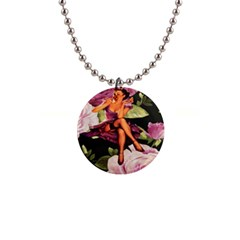 Cute Gil Elvgren Purple Dress Pin Up Girl Pink Rose Floral Art Button Necklace