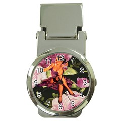 Cute Gil Elvgren Purple Dress Pin Up Girl Pink Rose Floral Art Money Clip with Watch