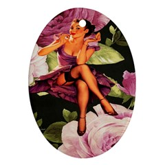 Cute Gil Elvgren Purple Dress Pin Up Girl Pink Rose Floral Art Oval Ornament (Two Sides)