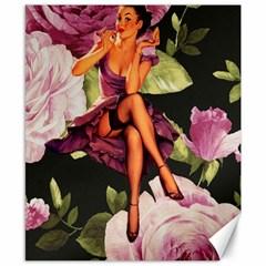 Cute Gil Elvgren Purple Dress Pin Up Girl Pink Rose Floral Art Canvas 8  x 10  (Unframed)
