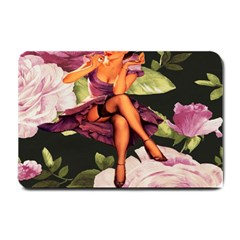 Cute Gil Elvgren Purple Dress Pin Up Girl Pink Rose Floral Art Small Door Mat