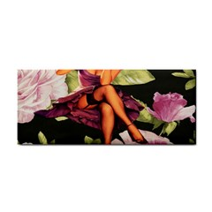 Cute Gil Elvgren Purple Dress Pin Up Girl Pink Rose Floral Art Hand Towel