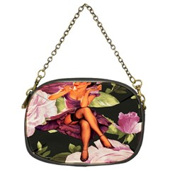 Cute Gil Elvgren Purple Dress Pin Up Girl Pink Rose Floral Art Chain Purse (two Sided)