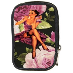 Cute Gil Elvgren Purple Dress Pin Up Girl Pink Rose Floral Art Compact Camera Leather Case