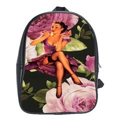 Cute Gil Elvgren Purple Dress Pin Up Girl Pink Rose Floral Art School Bag (Large)