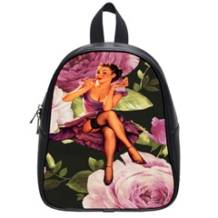 Cute Gil Elvgren Purple Dress Pin Up Girl Pink Rose Floral Art School Bag (Small)