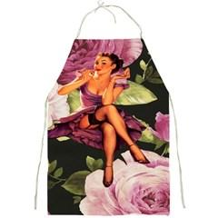 Cute Gil Elvgren Purple Dress Pin Up Girl Pink Rose Floral Art Apron