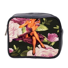 Cute Gil Elvgren Purple Dress Pin Up Girl Pink Rose Floral Art Mini Travel Toiletry Bag (two Sides)
