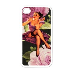 Cute Gil Elvgren Purple Dress Pin Up Girl Pink Rose Floral Art Apple iPhone 4 Case (White)