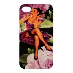 Cute Gil Elvgren Purple Dress Pin Up Girl Pink Rose Floral Art Apple iPhone 4/4S Hardshell Case