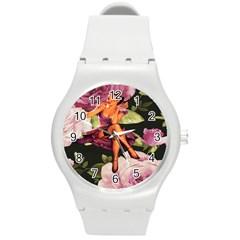 Cute Gil Elvgren Purple Dress Pin Up Girl Pink Rose Floral Art Plastic Sport Watch (Medium)