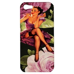 Cute Gil Elvgren Purple Dress Pin Up Girl Pink Rose Floral Art Apple iPhone 5 Hardshell Case