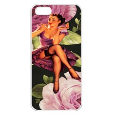 Cute Gil Elvgren Purple Dress Pin Up Girl Pink Rose Floral Art Apple Iphone 5 Seamless Case (white)