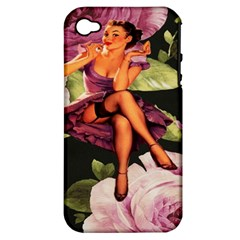 Cute Gil Elvgren Purple Dress Pin Up Girl Pink Rose Floral Art Apple iPhone 4/4S Hardshell Case (PC+Silicone)