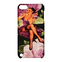 Cute Gil Elvgren Purple Dress Pin Up Girl Pink Rose Floral Art Apple Ipod Touch 5 Hardshell Case With Stand