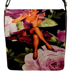Cute Gil Elvgren Purple Dress Pin Up Girl Pink Rose Floral Art Flap closure messenger bag (Small)