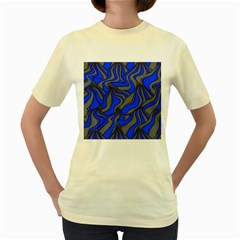 Foolish Movements Blue  Womens  T-shirt (Yellow)