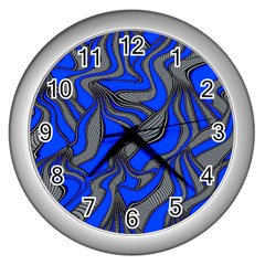 Foolish Movements Blue Wall Clock (Silver)