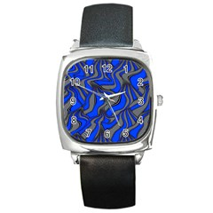 Foolish Movements Blue Square Leather Watch