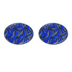 Foolish Movements Blue Cufflinks (oval)