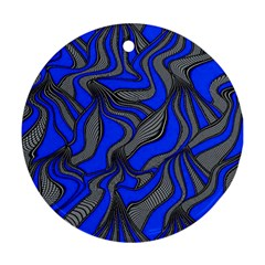 Foolish Movements Blue Round Ornament (Two Sides)