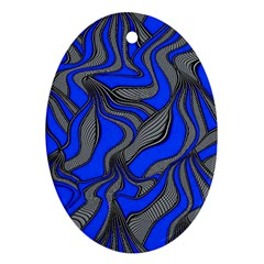 Foolish Movements Blue Oval Ornament (two Sides)