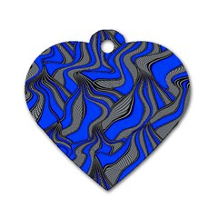 Foolish Movements Blue Dog Tag Heart (Two Sided)