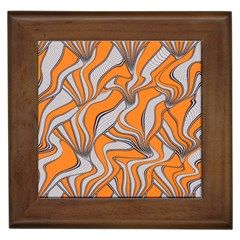Foolish Movements Swirl Orange Framed Ceramic Tile