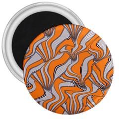Foolish Movements Swirl Orange 3  Button Magnet