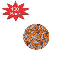 Foolish Movements Swirl Orange 1  Mini Button (100 pack)