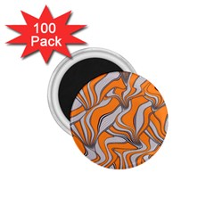 Foolish Movements Swirl Orange 1.75  Button Magnet (100 pack)