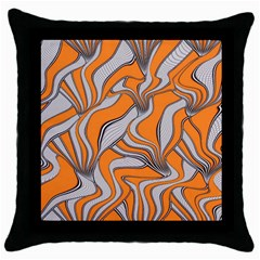 Foolish Movements Swirl Orange Black Throw Pillow Case