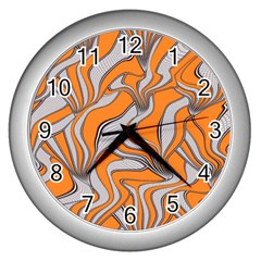 Foolish Movements Swirl Orange Wall Clock (Silver)