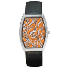 Foolish Movements Swirl Orange Tonneau Leather Watch