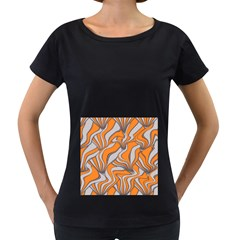 Foolish Movements Swirl Orange Womens' Maternity T-shirt (Black)