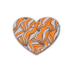 Foolish Movements Swirl Orange Drink Coasters 4 Pack (Heart)
