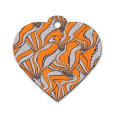 Foolish Movements Swirl Orange Dog Tag Heart (Two Sided)