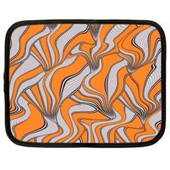 Foolish Movements Swirl Orange Netbook Case (Large)