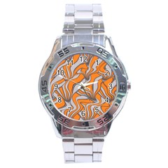 Foolish Movements Swirl Orange Stainless Steel Watch (Men s)