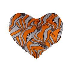 Foolish Movements Swirl Orange 16  Premium Heart Shape Cushion