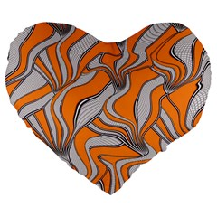 Foolish Movements Swirl Orange 19  Premium Heart Shape Cushion
