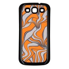 Foolish Movements Swirl Orange Samsung Galaxy S3 Back Case (Black)