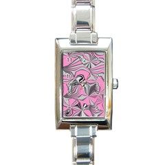 Foolish Movements Pink Effect Jpg Rectangular Italian Charm Watch