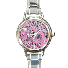 Foolish Movements Pink Effect Jpg Round Italian Charm Watch